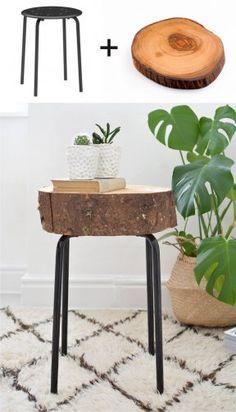 Ikea Hack con taburete y un tronco