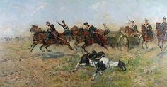 Wacław TRACEWSKI (1865-1904)  Scena bitewna olej, płótno dublowane, 81 x 153 cm; sygn. l. d.: W. TRACEWSKI
