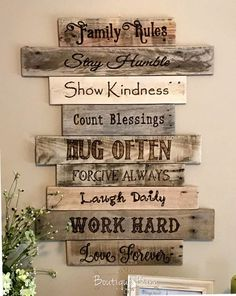 Family Rules Sign/Wood Sign/Family Art/Rustic Wall Decor/Farmhouse Decor/Country Home Decor/Family/Inspirational Decor/Rustic/Reclaimed Wood  Family Rules Sign- Rustic Wall Decor  A wonderfully rustic sign is perfect to hang on the wall thats been bare for too long! It is made up of a collection of reclaimed wood planks, with a list the Family Rules wood burned onto each separate plank. It makes quite a statement for your home, and demonstrates how...