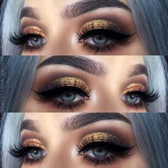 Gold and Brown Smokey Eye Makeup Idea for NYE