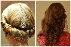 Rolled hairstyle for no-heat curls.