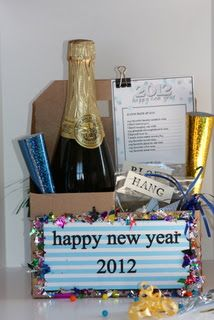 New Year\'s Eve Basket- I created this as a hostess gift. Everything ...