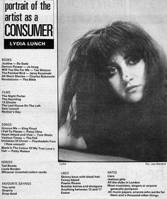 Portrait of the Artist as a Consumer, with Lydia Lunch (from NME, via Flickr)