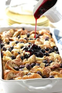 Blueberry and Cream Cheese French Toast Casserole with easy Blueberry Sauce!