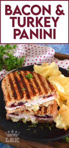 Stuffed to the max with sliced turkey, crispy bacon, and cranberry sauce, this Bacon and Turkey Panini is very juicy and loaded with melted, gooey cheese! #sandwich #panini #grilledsandwich #paninipress #leftovers #turkey #bacon Best Lunch Recipes, Salad Recipes For Dinner, Appetizer Recipes, Easy Recipes, Breakfast Recipes, Bacon Sandwich, Soup And Sandwich, Sandwich Recipes, Turkey Panini