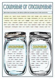 Grammar practice on nouns. Students fill in the jars with countable or uncountable nouns given. They write the countable nouns in their plural form. Teaching English Grammar, English Grammar Worksheets, English Resources, English Activities, Grammar And Vocabulary, Grammar Lessons, Education English, English Vocabulary, Teaching Spanish