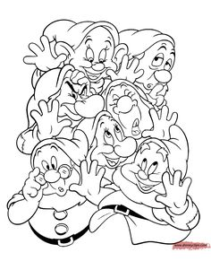 seven dwarfs coloring pages - Yahoo Image Search Results Snow White Coloring Pages, Cute Coloring Pages, Coloring Pages To Print, Coloring Sheets, Coloring Books, Disney Princess Coloring Pages, Disney Princess Colors, Disney Characters Pictures, Disney Quilt
