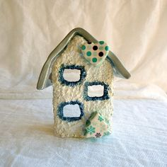 Holiday candle holder miniature house specific caracter ceramic house pottery house cottage chic decor by kosmobysoul on Etsy