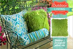 "Outdoor Pillow Trio: Outdoor Living with Fabric.com - faux fur ""green grass"" pillow is a conversation starter, fun to pick up and toss around. 