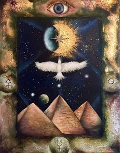"""Alchemical Emblem No. 1 """"Sacred Geometry"""", by Jim Slouffman, 11x14 in., Oil on Canvas with Gold and Silver Leaf, November 2016"""