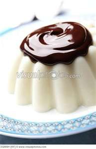 blancmange with chocolate topping