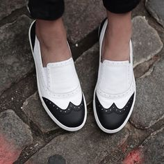 Style tip: add a bold pop to your look with our cool black and white Kline slip-on sneakers.