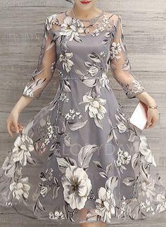 Vestidos de - $48.46 - Poliéster Floral Manga 3/4 Longuete Bonitinho Vestidos de (1955113586)
