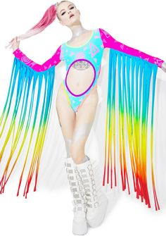 Mamadoux Rainbow Fringed Rave Suit