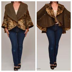 Items similar to winter coat cape short reversible animal print fur suede cape on Etsy Leopard Prints, Cape Coat, Winter Coat, High Fashion, Skinny Jeans, Fur, Animal, Pants, Fashion Design