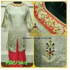 Khadi cotton kurti wid moti wrk n georgette skirt