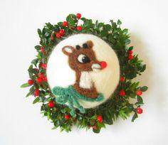 Rudolph das rote Nase Rentier Felted Ornament, Nadel gefilzte Dekoration, Wolle Ornament, Weihnachtskugel