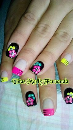 Uñas Fingernail Designs, Toe Nail Designs, Diy Nails, Cute Nails, Fingernails Painted, Yellow Nail Art, Vacation Nails, Nails For Kids, Nail Polish Art
