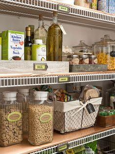 Make a list of what you want to store where and then outfit drawers and cabinets with appropriate organizers. Visit a specialty storage retailer or home centre to look for compartmentalized drawer inserts, back-of-the-door racks, stack-able wire shelves, and pullouts that will make the most of your cabinet space.