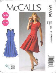 MCCALLS 6834 - FROM 2013 - UNCUT - MISSES PETIT DRESSES