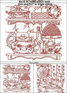 """Limited Edition """"Vintage Kitchen Ten beautifully detailed, kitchen themed designs, perfect for kitchen curtains! Hand Embroidery Patterns, Custom Embroidery, Embroidery Thread, Machine Embroidery Designs, Cool Coloring Pages, Kitchen Curtains, Country Living, Vintage Kitchen, Free Design"""