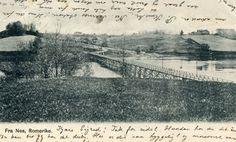 ROMERIKE. Nes. Nært oversiktsbilde med lang, lav bro sentralt. Brukt.Årstall:1903