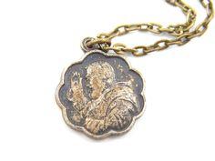 Saint Padre Pio Necklace - Vintage Catholic Medal - Our Lady of Perpetual Help - Patron Saint - Handmade Necklace - Religious Charm - U5 by LuxMeaChristus on Etsy
