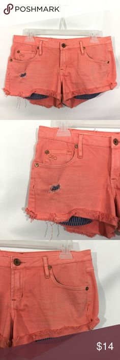 """Quicksilver QSD Cut Off Shorts Stretch Quicksilver QSD Womens Juniors 3/26 Orange Distressed Cut Off Shorts Stretch  Pre-Owned  98% Cotton 2% Spandex  Approximate Measurements Laying Flat:  Waist-15.5"""" Rise-7.5"""" Inseam-3""""  Smoke & Pet Free Quiksilver Shorts Jean Shorts"""