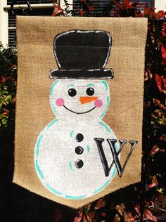 Burlap Garden Flag with Snowman and Monogram by ModernRusticGirl, $20.00