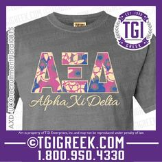 TGI Greek - Alpha Xi Delta - Sorority PR - Greek T-shirts - Comfort Colors  #tgigreek #alphaxidelta #comfortcolors
