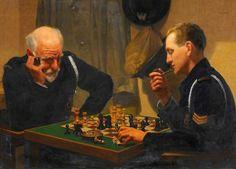 Emilio C. L. Tafani - A Quiet Night, Air Raid Wardens Playing Chess