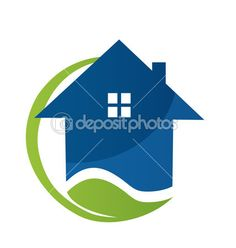 House icon with leaf — Stock Illustration #19393175