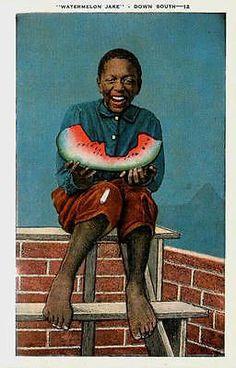 Dixie Black History 1950s Watermelon Jake Collectible Antique Vintage Postcard Dixie black history 1950s Watermelon Jake doing what he does best, devouring a watermelon slice. Unused E. C. Kropp colle
