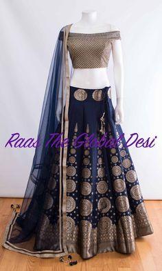 CHOLI-Raas The Global Desi-[wedding_lehengas]-[indian_dresses]-[gown_dress]-[indian_clothes]-[chaniya_cholis] Lehenga Gown, Lehnga Dress, Indian Lehenga, Bridal Lehenga, Lengha Choli, Lehenga Blouse, Brocade Lehenga, Bandhani Dress, Black Lehenga