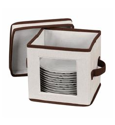 Household Essentials Saucer China Storage Box protects your delicate saucers while they are in storage. The classic cream-colored storage box with brown trim holds up to 12 saucers. Each is separated Storage Boxes With Lids, Lid Storage, Storage Organization, Storage Chest, Storage Ideas, Flatware Storage, Storage Solutions, China Storage, Plate Storage