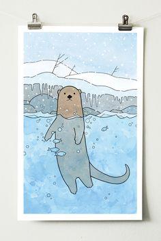 River Otter Art Print, Nursery, Kids Room Animal Large Illustration Print, 11x14 by studiotuesday on Etsy https://www.etsy.com/listing/263295153/river-otter-art-print-nursery-kids-room