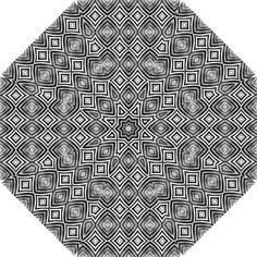 Black White Diamond Pattern Hook Handle Umbrellas (Large)