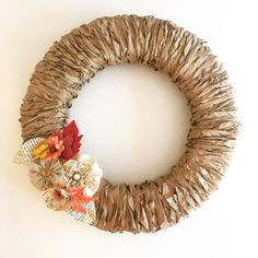Best 12 Like this look better than the wrapped yarn: Paper Bag Fall Wreath…Can do Spring and Summer too! Fall Wreath Tutorial, Diy Fall Wreath, Autumn Wreaths, Holiday Wreaths, Burlap Wreath, Christmas Crafts, Christmas Decorations, Christmas Front Doors, Autumn Crafts