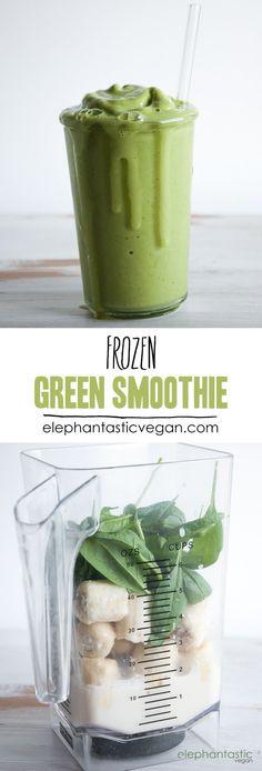 Frozen Green Smoothie | http://ElephantasticVegan.com