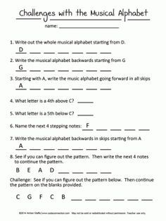 Music Alphabet Challenges for beginners