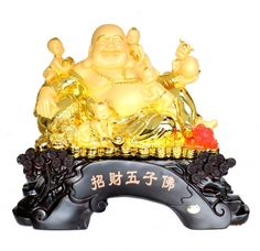 Golden Money Buddha Statue on Dragon Chair