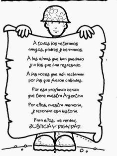 33 Tarjetas con mensajes por las Malvinas Argentinas y los veteranos: Imágenes para el 2 de abril Día de los Veteranos Teacher Problems, Falklands War, Ciri, Grade 1, Memorial Day, Classroom, Memories, Lettering, Reading