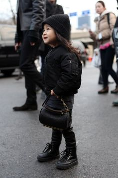 Alexander Wang's neice with her own mini Alexander Wang studded bag