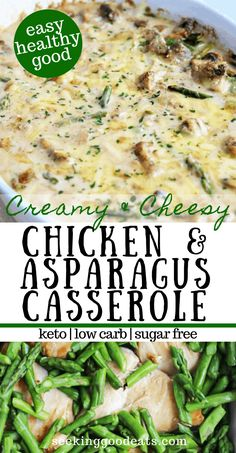 This creamy chicken and asparagus bake is so delish! A perfect one-pan dinner that is also a low carb and keto recipe. Tender chicken, sauteed asparagus in a cheesy dijon and lemon cream sauce make th Best Asparagus Recipe, Grilled Asparagus Recipes, Baked Asparagus, Chicken Asparagus Bake, Low Carb Dinner Recipes, Keto Dinner, Cooking Recipes, Healthy Recipes, Keto Recipes