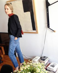 Finally got to use my scarf from Prada that I couldn't resist buying after spotting it in the AW14 campaign. Combined here with my vintage denim, blazer from Saint Laurent and t-shirt from Totême at a shoot I did earlier today in our apartment.