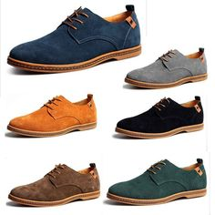 New Mens Casual/Dress Formal Oxfords Flats Shoes Genuine Suede Leather Lace Up - Moda - Mens Casual Dress Shoes, Formal Shoes For Men, Casual Boots, Casual Dresses, Casual Outfits, New Mens Fashion, Mens Fashion Shoes, Fashion Vest, Derby