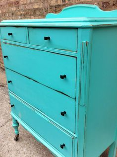 Antique Distressed Dresser In Chevy Blue