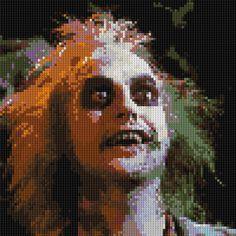 Beetlejuice counted Cross Stitch Pattern - Michael Keaton by Handmade by Shelley Faye $4.99 + S&H https://www.etsy.com/listing/152629191/beetlejuice-counted-cross-stitch-pattern