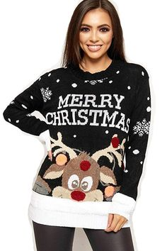945af3675370f9 Ein sehr fröhlicher Weihnachtspullover mit Pom Pom Rentier und Merry  Christmas Schriftzug. Kontrastfarbene Saumdetails;