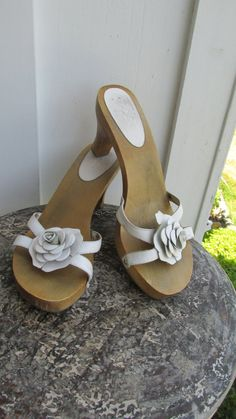 Vintage White Leather Wooden Clog Sandals by Mia